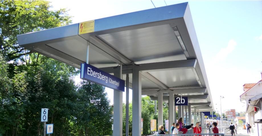 Toiture pour quai du gare type HSM System® à Ebersberg